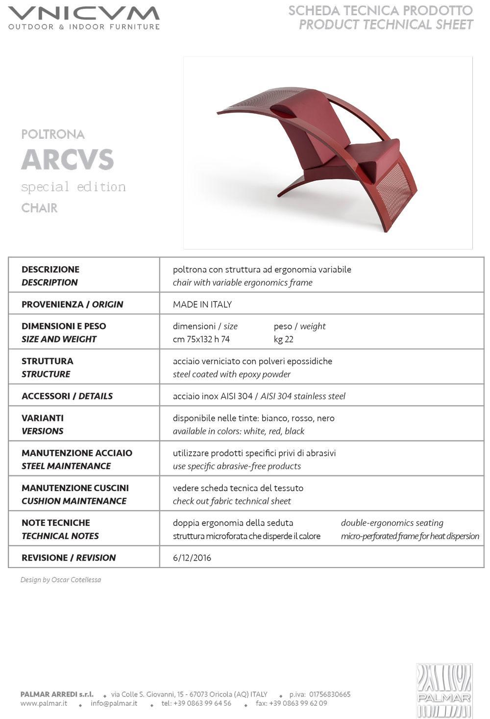 scheda tecnica VNICVM ARCVS special edition